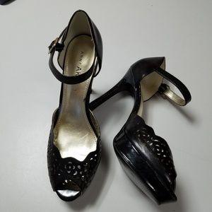 Anne Klein stiletto platform black sandal Nwot